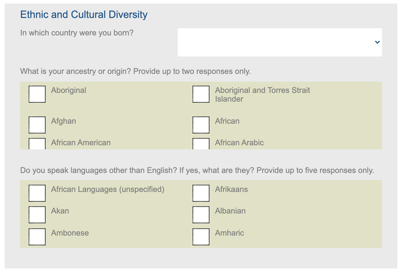 Ethnic and cultural diversity questions
